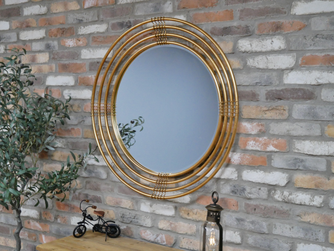 Repeating Frame Circle Mirror Old Gold Copperwood Home